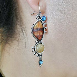 NWOT Citrine & Blue Topaz Drop Earrings
